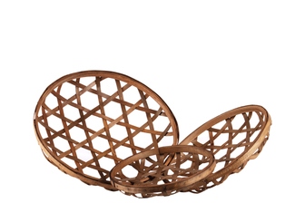 UTC57406 Wood Round Tobacco Basket with Octagon Pattern Design Set of Three Natural Finish Brown