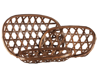 UTC57407 Wood Oval Tobacco Basket with Octagon Pattern Design Set of Three Natural Finish Brown