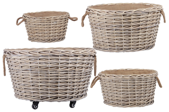 UTC57409 Wood Round Wooven Basket with Rope Side Handles, Fabric Inner Lining and Casters on Largest Size Set of Four Natural Finish Tan