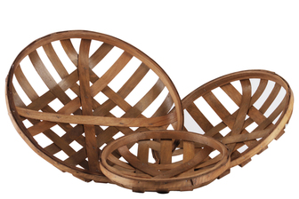 UTC57410 Wood Round Tobacco Basket with Lattice Design Set of Three Natural Finish Brown