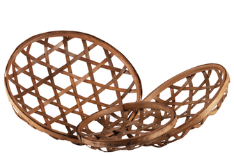 UTC57411 Wood Round Tobacco Basket with Octagon Pattern Design Set of Three Natural Finish Brown