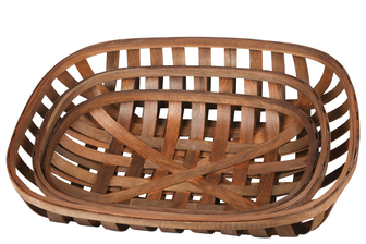 UTC57412 Wood Square Tobacco Basket with Woven Mouth Set of Three Natural Finish Brown