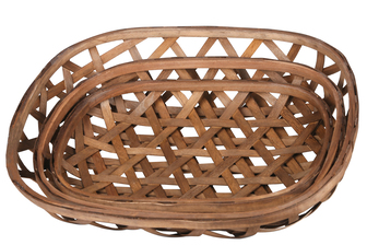 UTC57413 Wood Oval Tobacco Basket with Octagon Pattern Design Set of Three Natural Finish Brown