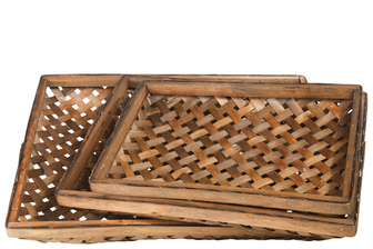 UTC57414 Wood Rectangle Tobacco Basket with Weave Design Body Set of Three Varnish Finish Brown