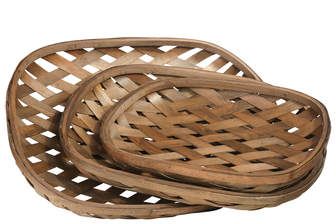 UTC57418 Wood Oval Tobacco Basket with Diagonal Weave Design Body Set of Three Varnish Finish Brown