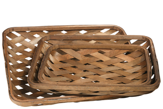UTC57419 Wood Rectangle Tobacco Basket with Diagonal Weave Design Body Set of Three Varnish Finish Brown