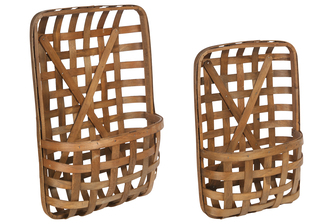 UTC57420 Wood Rectangle Basket with X Surface Weave Design Body Set of Two Varnish Finish Brown