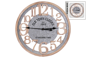 "UTC57500 Wood Round Wall Clock with ""Old Town"" Theme and Metal Sheet Inner Lining Natural Finish Brown"