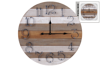 UTC57501 Wood Round Wall Clock with Parquet Pattern and Metal Digits Natural Fiish Multicolor(Gray, Brown and White)