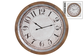 UTC57502 Metal Round Wall Clock with Labeled Digits and Wood Frame Galvanized Finish Gray