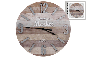UTC57503 Wood Round Wall Clock with Farmhouse Theme, Parquet Pattern and Metal Digits Natural Fiish Multicolor(Gray and Brown)
