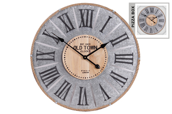 UTC57504 Metal Round Wall Clock with Roman Numeral Digits and Rope Lining Frame Galvanized Finish Gray