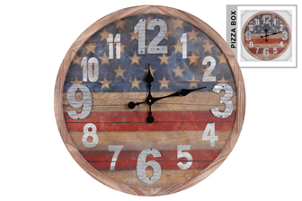 UTC57505 Wood Round Wall Clock with USA Flag Design and Metal Sheet Digits Natural Finish Brown