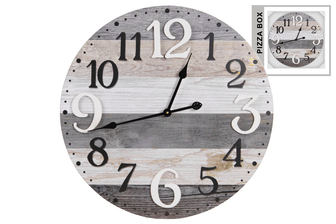 UTC57506 Wood Round Wall Clock with Black and White Painted Digits and Parquet Pattern Natural Finish Multicolor (Gray, Tan and White)