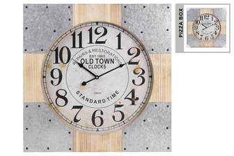 "UTC57507 Wood Square Wall Clock with ""Old Town"" Theme, Metal and Wood Frame, and Labeled Digits Natural Finish Brown"