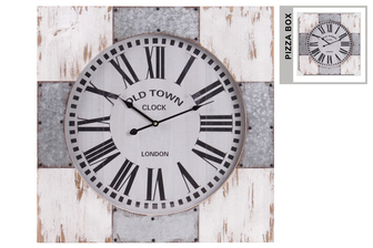 "UTC57508 Wood Square Wall Clock with ""Old Town"" Theme, Metal and Wood Frame, and Labeled Roman Numeral Digits Weathered Wood Finish Cream"