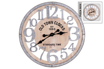 "UTC57509 Wood Round Wall Clock with ""Old Town"" Theme and Metal Frame and Digits Natural Finish Brown"