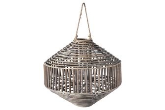 UTC57627 Rattan Round Lantern with Rope Hanger, Spiral Wooven Design Top and Bottom and Candle Glass Holder LG Natural Finish Brown