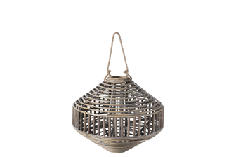 UTC57628 Rattan Round Lantern with Rope Hanger, Spiral Wooven Design Top and Bottom and Candle Glass Holder MD Natural Finish Brown