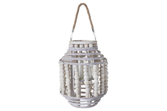 UTC57630 Wood Round Lantern with Removable Rope Hanger, Rim Beads and Body on Spiral Top and Bottom Design and Candle Glass Holder LG Washed Finish Gray