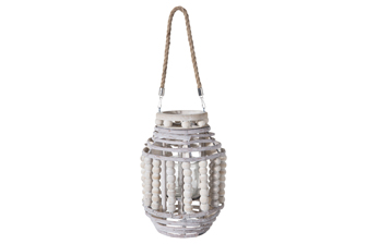 UTC57631 Wood Round Lantern with Removable Rope Hanger, Rim Beads and Body on Spiral Top and Bottom Design and Candle Glass Holder MD Washed Finish Gray