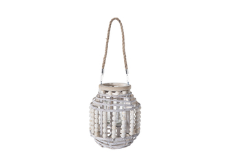 UTC57632 Wood Round Lantern with Removable Rope Hanger, Rim Beads and Body on Spiral Top and Bottom Design and Candle Glass Holder SM Washed Finish Gray