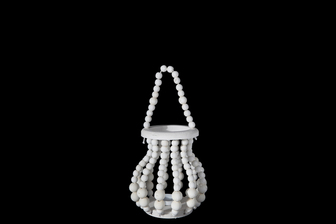 UTC57635 Wood Round Bellied Lantern with Removable Top Rope Hanger, Vertical Beads Conbination Design Body in Metal Frame and Candle Glass Holder SM Washed Finish White