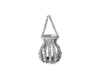 UTC57638 Wood Round Bellied Lantern with Removable Top Rope Hanger, Vertical Beads Conbination Design Body in Metal Frame and Candle Glass Holder SM Washed Finish Gray