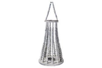 UTC57639 Wood Round Bellied Lantern with Removable Top Rope Hanger, Vertical Beads Conbination Design Body in Metal Frame, Candle Glass Holder and Flared Bottom XL Washed Finish Gray