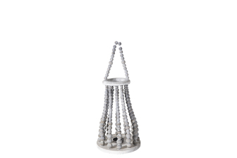 UTC57641 Wood Round Bellied Lantern with Removable Top Rope Hanger, Vertical Beads Conbination Design Body in Metal Frame, Candle Glass Holder and Flared Bottom MD Washed Finish Gray