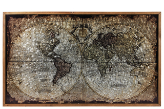"UTC57800 Metal Rectangle Panel Printed of ""World Map Painting by John Senex"" with Wood Frame and 2 Small Metal Back Hangers Galvanized Finish Brown"