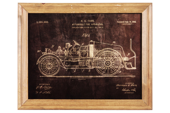 "UTC57801 Wood Rectangle Wall Art of ""1916 Fire Truck Patent Print by Herman Farr"" with Glass Frame and 2 Small Metal Back Sawtooth Hangers Natural Finish Brown"