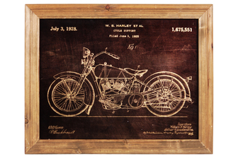 "UTC57802 Wood Rectangle Wall Art of ""1928 Motorcycle Patent Print by William Harley"" with Glass Frame and 2 Small Metal Back Sawtooth Hangers Natural Finish Brown"