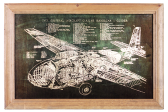 "UTC57803 Wood Rectangle Wall Art of ""1943 General Aircraft GAL. 49 Hamilcar I Glyder Blueprint"" with Glass Frame and 2 Small Metal Back Sawtooth Hangers Natural Finish Brown"