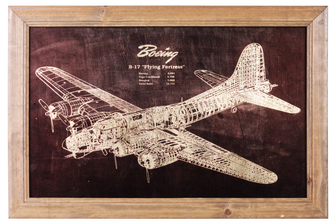 "UTC57804 Wood Rectangle Wall Art of ""1935 Boeing B17 Flying Fortress Patent Print"" with Glass Frame and 2 Small Metal Back Sawtooth Hangers Natural Finish Brown"