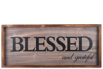 "UTC57821 Wood Rectangle Wall Art with Frame, Printed ""Blessed"" and Sawtooth Back Hangers Natural Finish Brown"