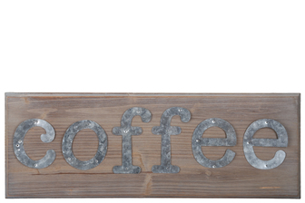 "UTC57822 Wood Rectangle Wall Art with Galvanized Cut out ""Coffee"" Writing and Triangular Back Hangers Natural Finish Brown"