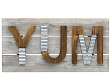 "UTC57826 Wood Rectangle Wall Art with Embossed ""YUM"" Writing on 3 Joined Boards, Galvanized Design Letters and Triangular Back Hangers Weathered Finish Brown"