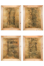 "UTC57840-AST Wood Rectangle Wall Art on Frame with Glass, ""Musical Instruments Theme"" Printed and Metal Back Hangers Assortment of Four Painted Finish Brown"