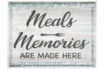 "UTC57841 Wood Rectangle Wall Art with ""MEALS MEMORIES"" Printed in Cursive, Galvanized Design Frame and Metal Back Hanger Washed Finish Brown"