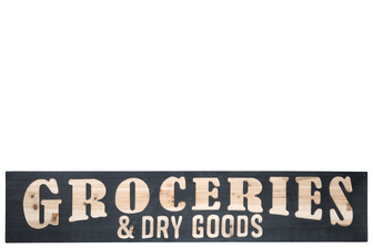 "UTC57842 Wood Rectangle Wall Art with Carved ""GROCERIES & DRY GOODS"" Writing and Metal Back Hangers Painted Finish Black"