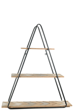 UTC57843 Metal Triangle Wall Shelf with Carved Wood Surface Design Tiers and Back Hangers Painted Finish Black