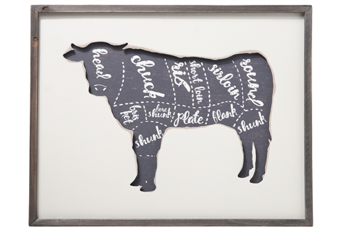 UTC57908 Wood Rectangle Wall Art with Frame and Cow Cut Chart Design Painted Finish White