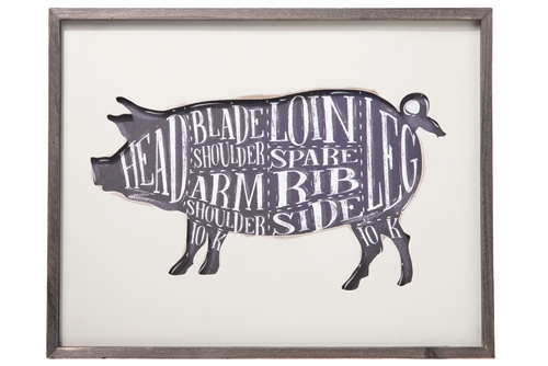 UTC57909 Wood Rectangle Wall Art with Frame and Pig Cut Chart Design Painted Finish White