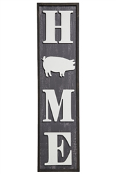 "UTC57910 Wood Rectangle Wall Art with Embossed Vertical Writing ""HOME"" Design Painted Finish Black"