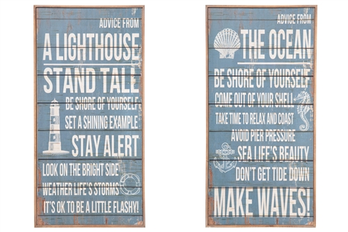 "UTC57912-AST Wood Rectangle Wall Art with ""Coastal Messages"" Design Assortment of Two Distressed Finish Blue"
