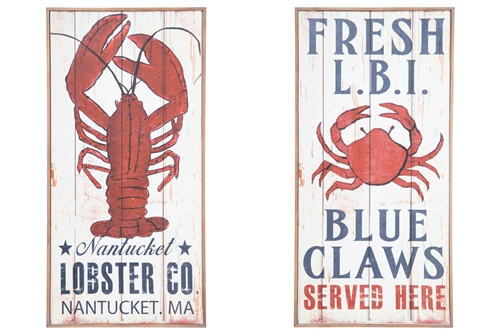 "UTC57913-AST Wood Rectangle Wall Art with Printed ""Crab and Lobster"" Design Assortment of Two Distressed Finish Beige"