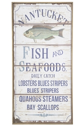 "UTC57914 Wood Rectangle Wall Art with Printed ""Mantucket Fish and Seafoods"" Design Distressed Finish Beige"