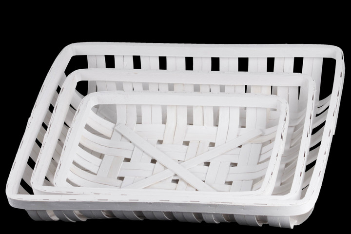 UTC58501 Wood Rectangle Tobacco Basket with Lattice Design Set of Three Painted Finish White