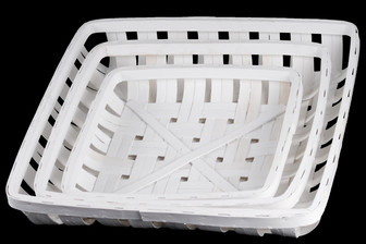 UTC58502 Wood Square Tobacco Basket with Lattice Design Set of Three Painted Finish White